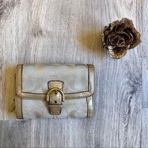 Cute Signature Beige and Gold Coach Wallet